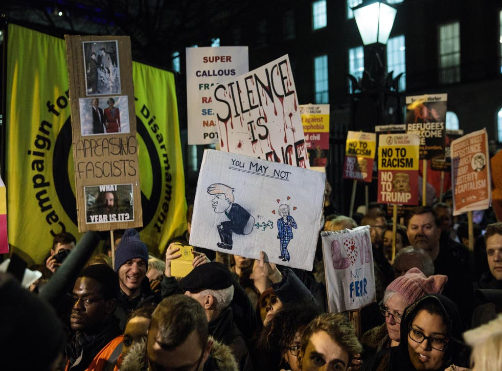 Protesters outside Downing Street, London, 30 January 2017