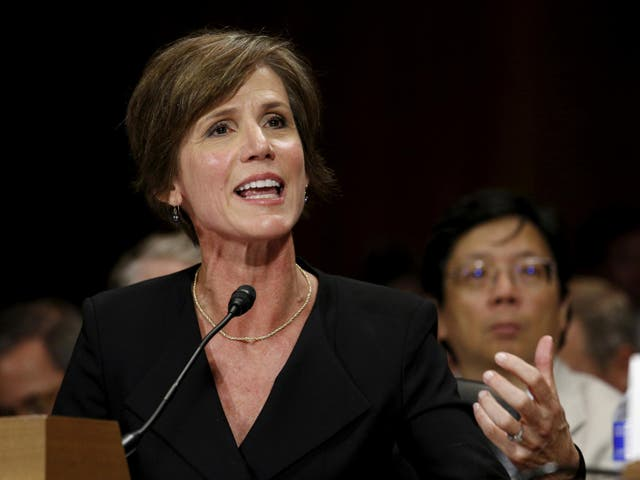 Former US Deputy Attorney General Sally Quillian Yates testifies during a Senate Judiciary Committee