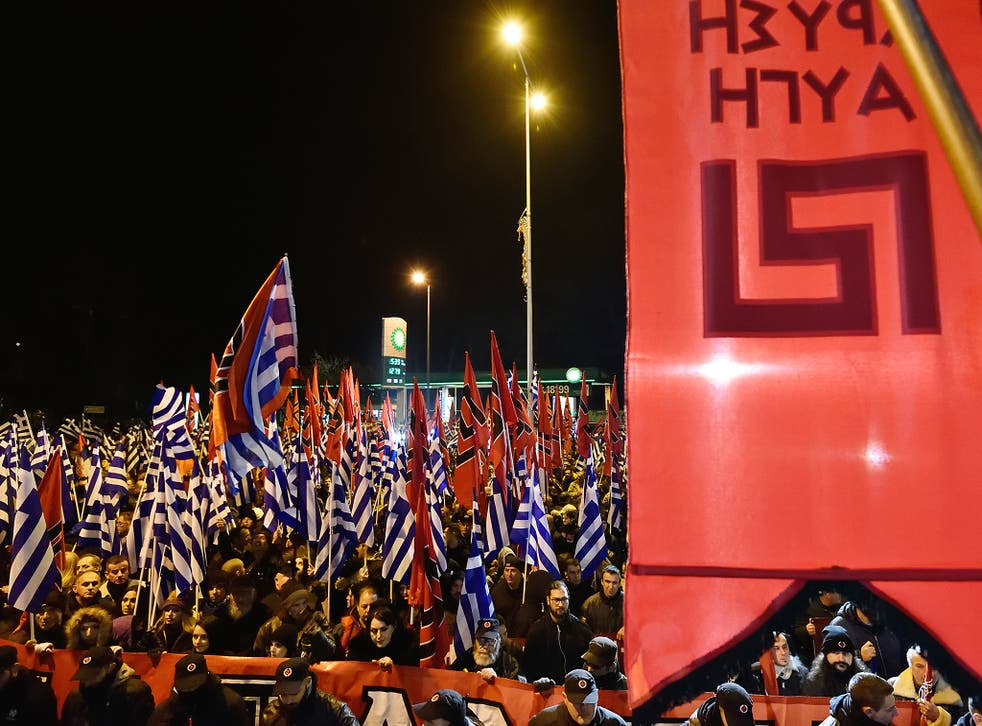 Golden Dawn supporters protest in Athens last week. Extreme ideologies in Greece are in part a legacy of the vicious civil war there in the late 1940s