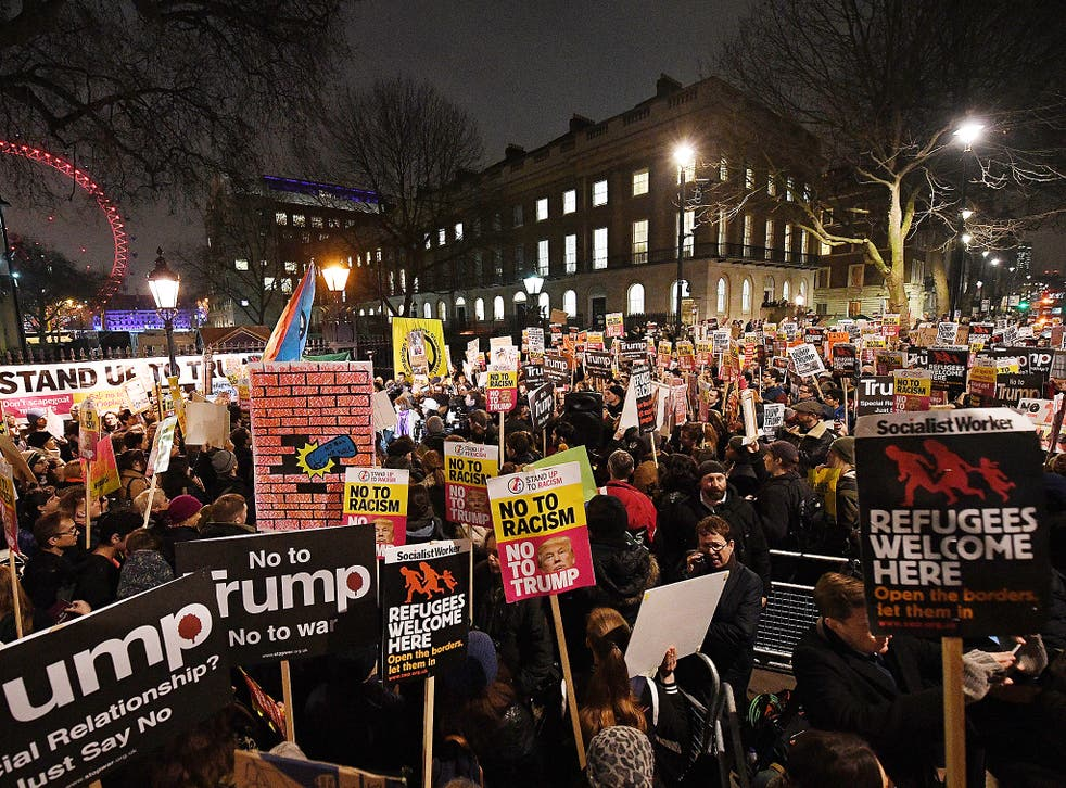 Stand Up To Racism, which also helped organise Monday's London march (pictured), is protesting Theresa May's state invite to Mr Trump