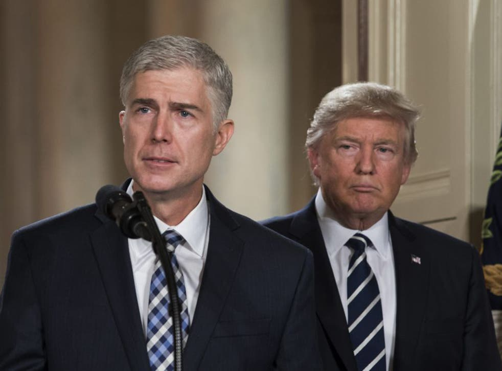 Neil Gorsuch with Donald Trump in the East Room of the White House