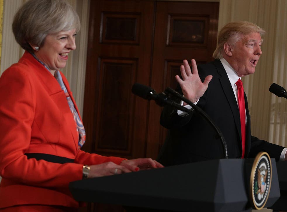 British Prime Minister Theresa May and US President Donald Trump during Ms May's visit to the United States in January 2017