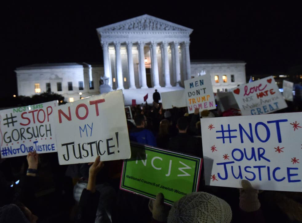 Protesters gathered outside the Supreme Court, 31 January