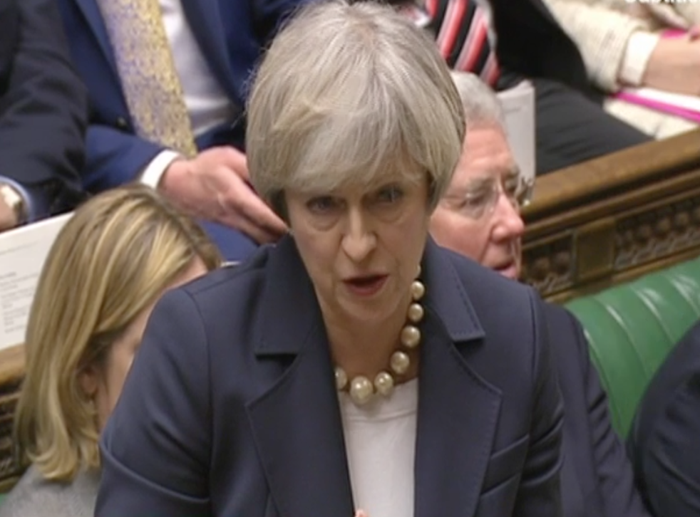 Theresa May, speaking at Prime Minister's Questions