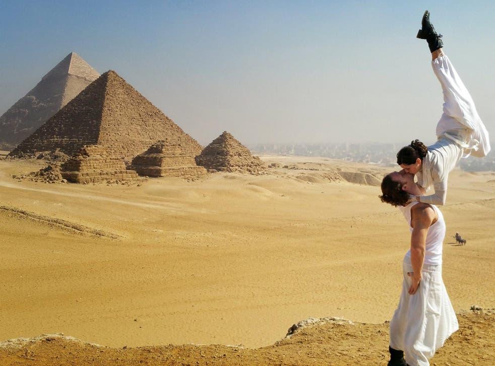Acrobats Cheetah Platt and Rhian Woodyard visited Egypt on the round-the-world trip