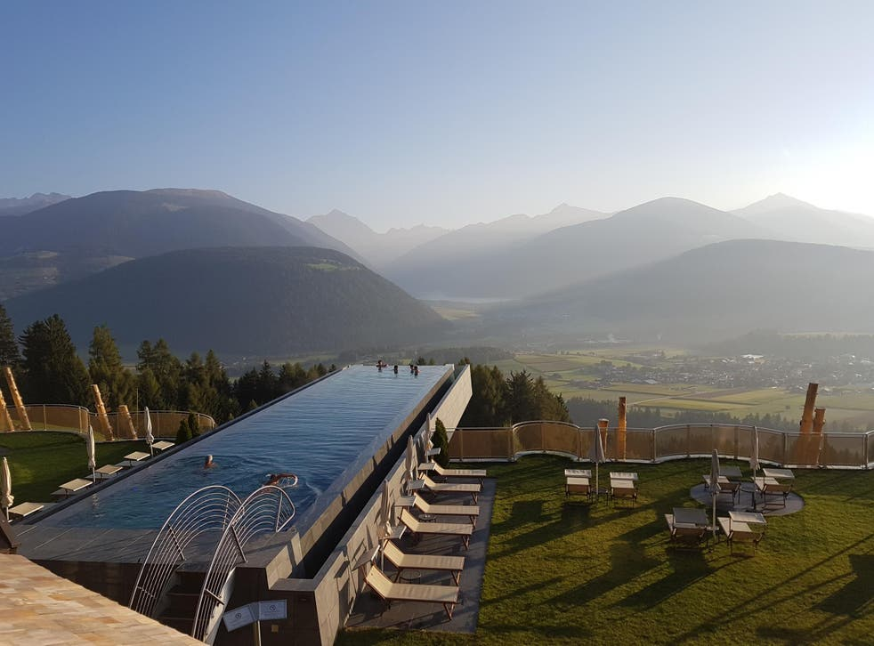 The pool at Hotel Hubertus is cantilevered over the South Tyrol landscape
