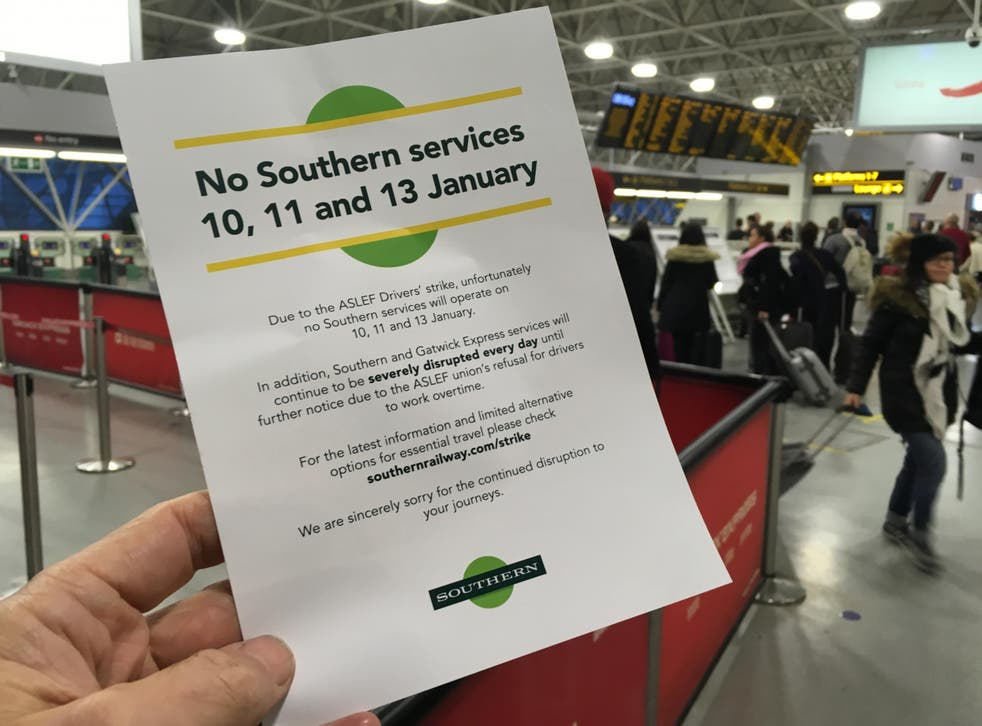 Drawing a line: a leaflet warning of strike action on the Southern network last month