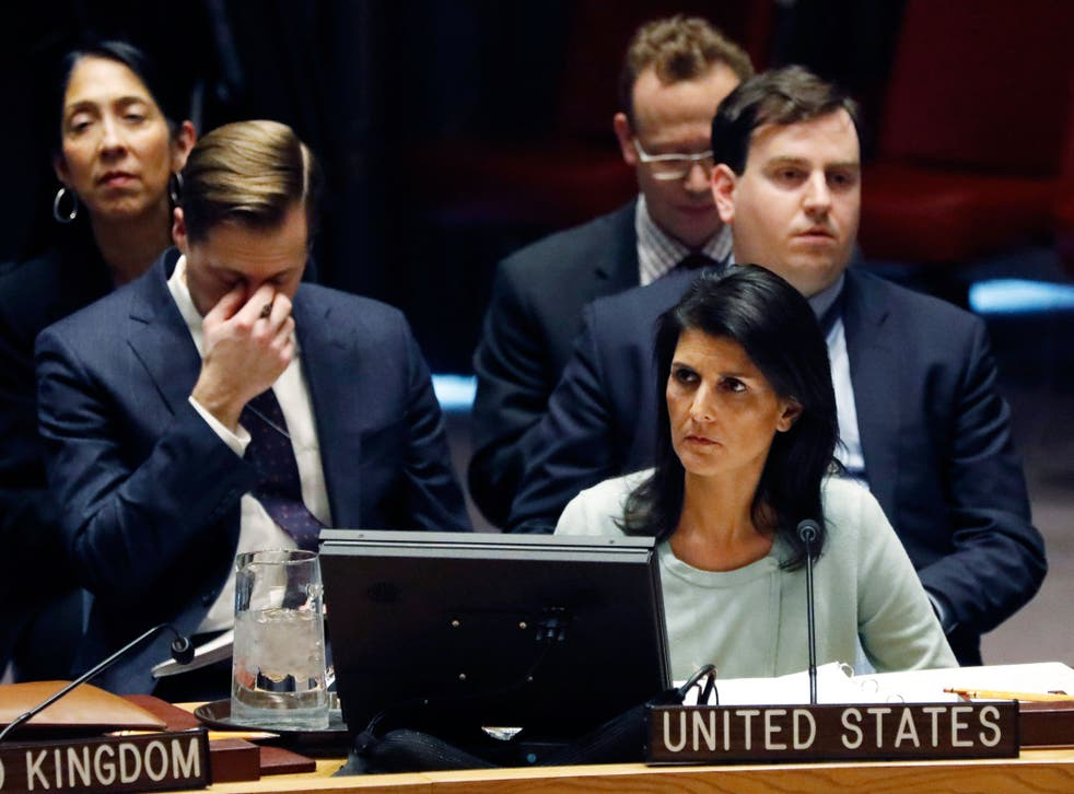 The new US Ambassador to the United Nations, Nikki Haley, waits to address the Security Council on the situation in Ukraine