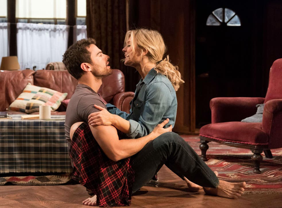 Emila Fox and Theo James in 'Sex with Strangers' at Hampstead Theatre