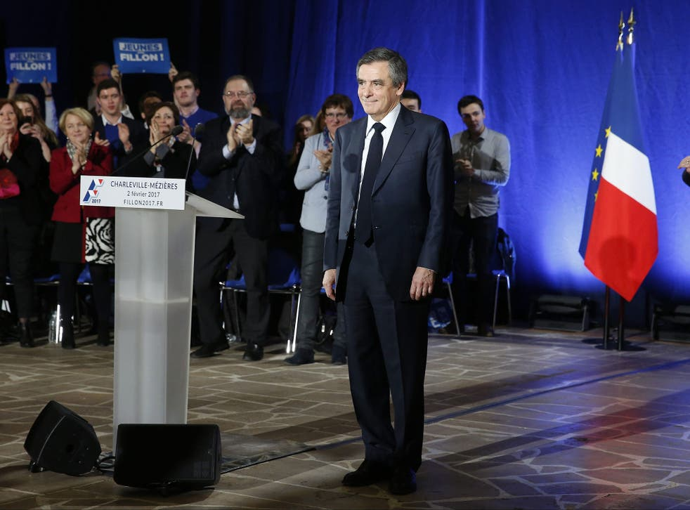 French Prime Minister and Les Republicains political party candidate for the 2017 presidential election Francois Fillon, attends a rally in Charleville-Mezieres, France, 2 February, 2017
