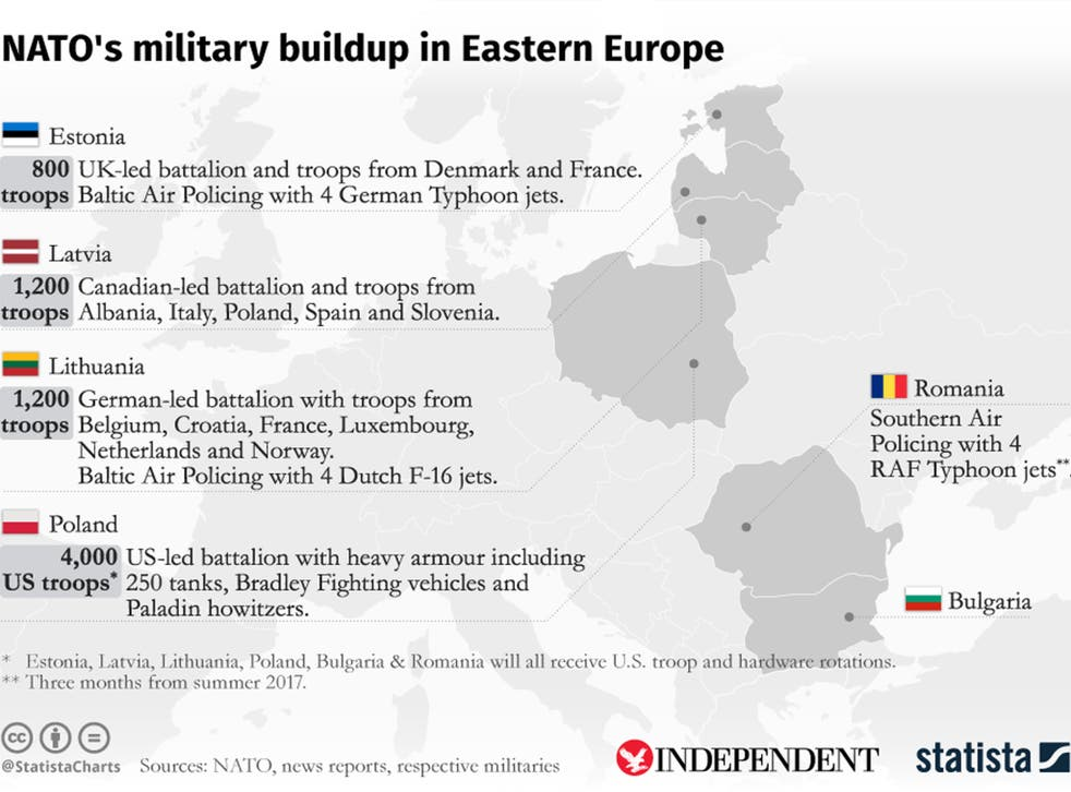 A map showing Nato's military buildup in Eastern Europe