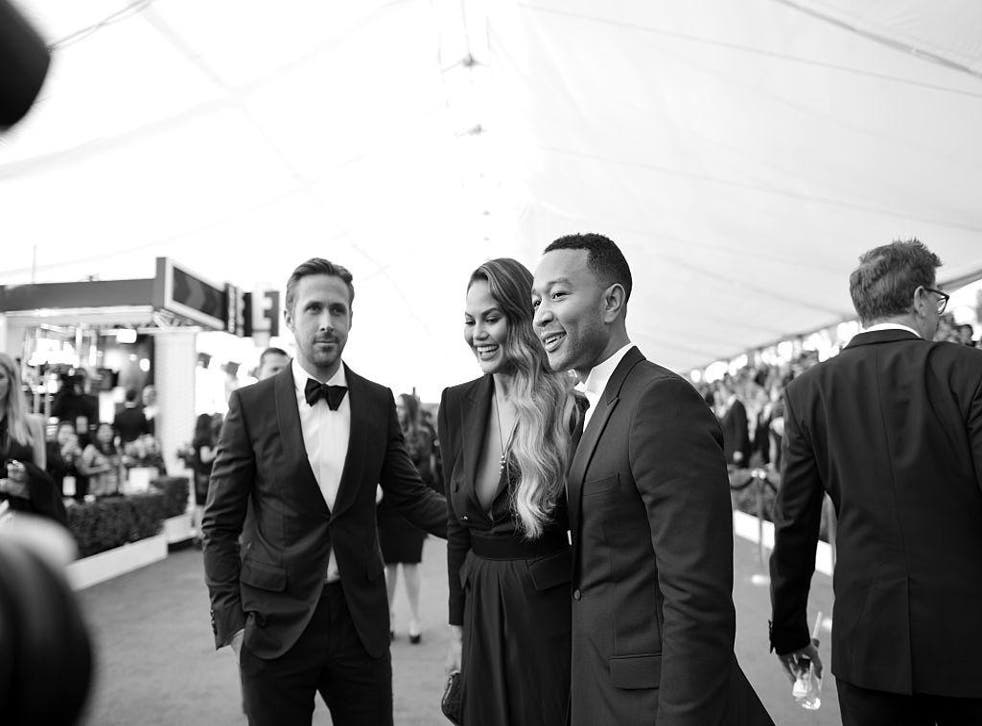 John Legend with Chrissy Teigan and Ryan Gosling at the 23rd annual Screen Actors Guild Awards, January 2017