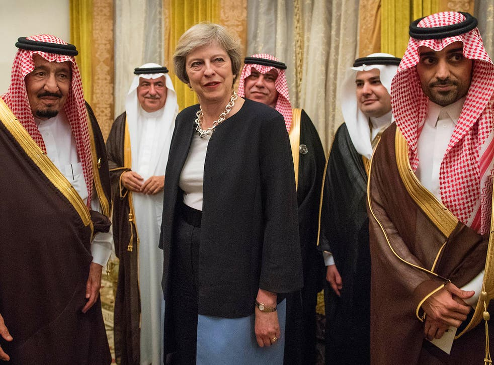 Theresa May meeting King Salman of Saudi Arabia in December at a meeting of the Gulf Cooperation Council in Bahrain