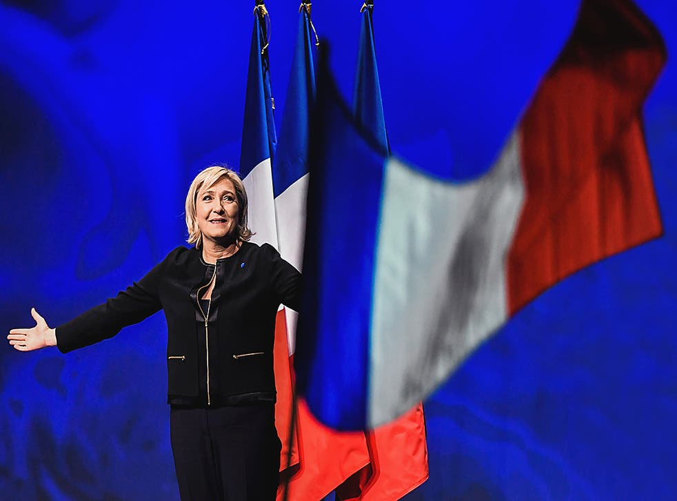 Head of the French far-right party Front national (FN) and presidential candidate Marine Le Pen