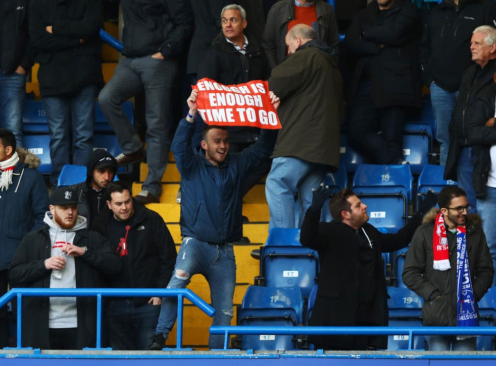 Two Arsenal fans call for Arsene Wenger to leave as manager of the club