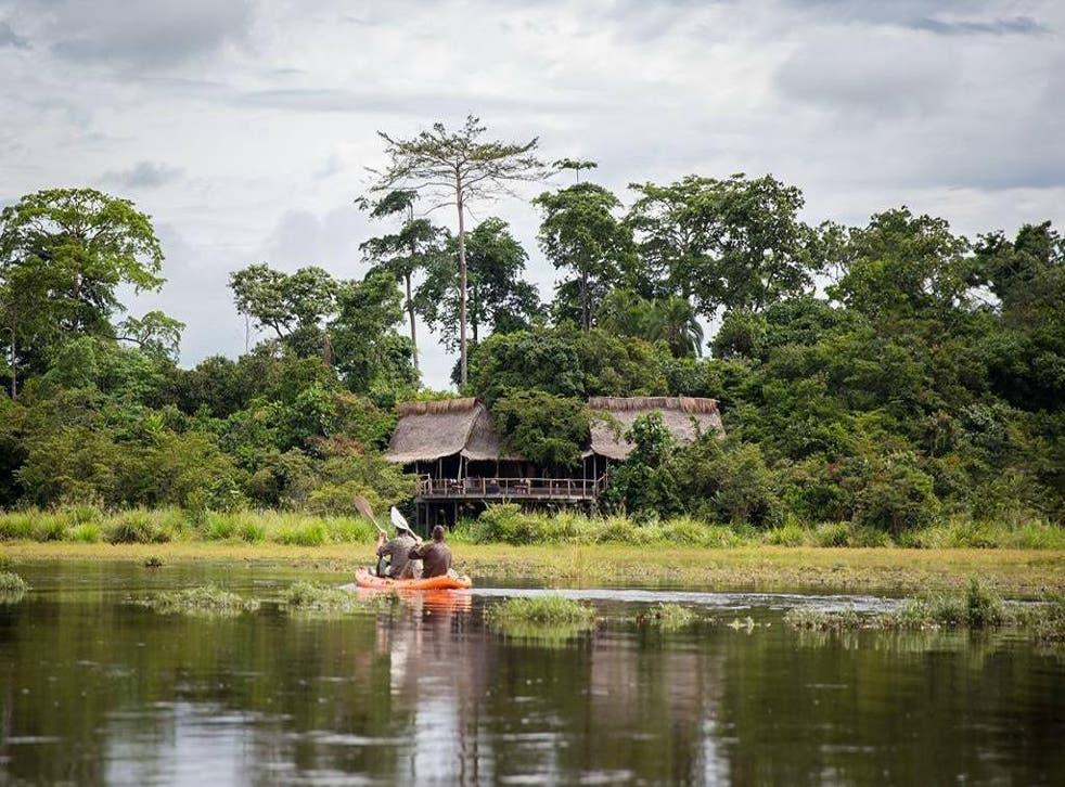 Kayaking towards Lango Camp in the Republic of Congo