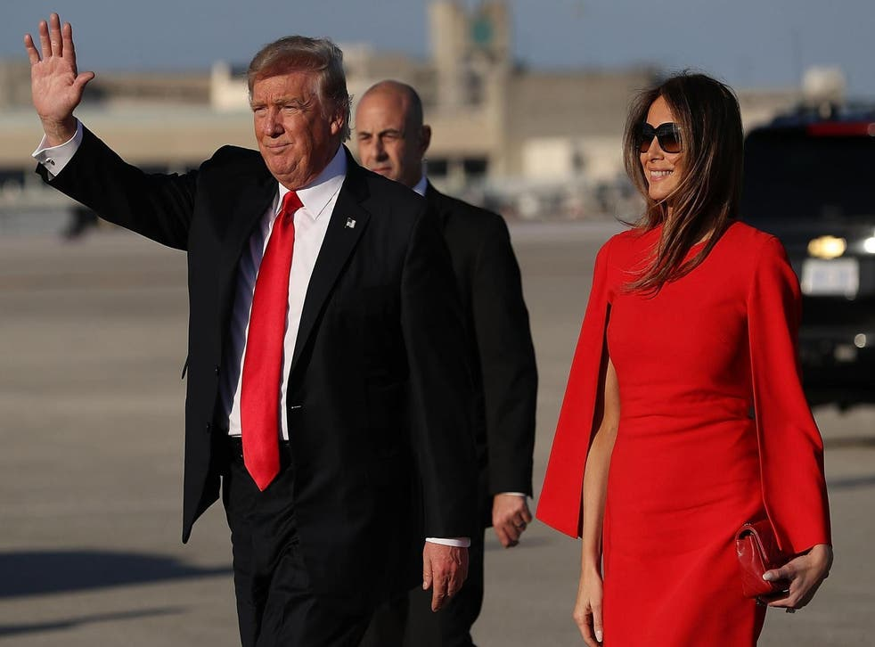 Donald and Melania Trump after arriving in Florida