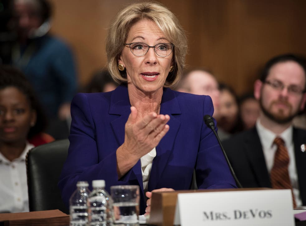 DeVos speaks during her confirmation hearing before the Senate Health, Education, Labour, and Pensions Committee