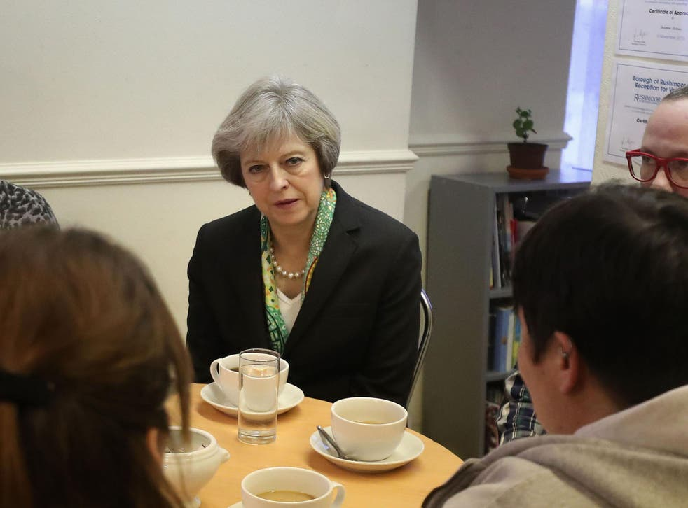 Theresa May visits a community mental health support centre, having promised to 'transform' attitudes to mental health problems