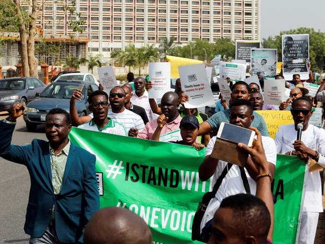 Hundreds turned out to march in Abuja, the Nigerian capital