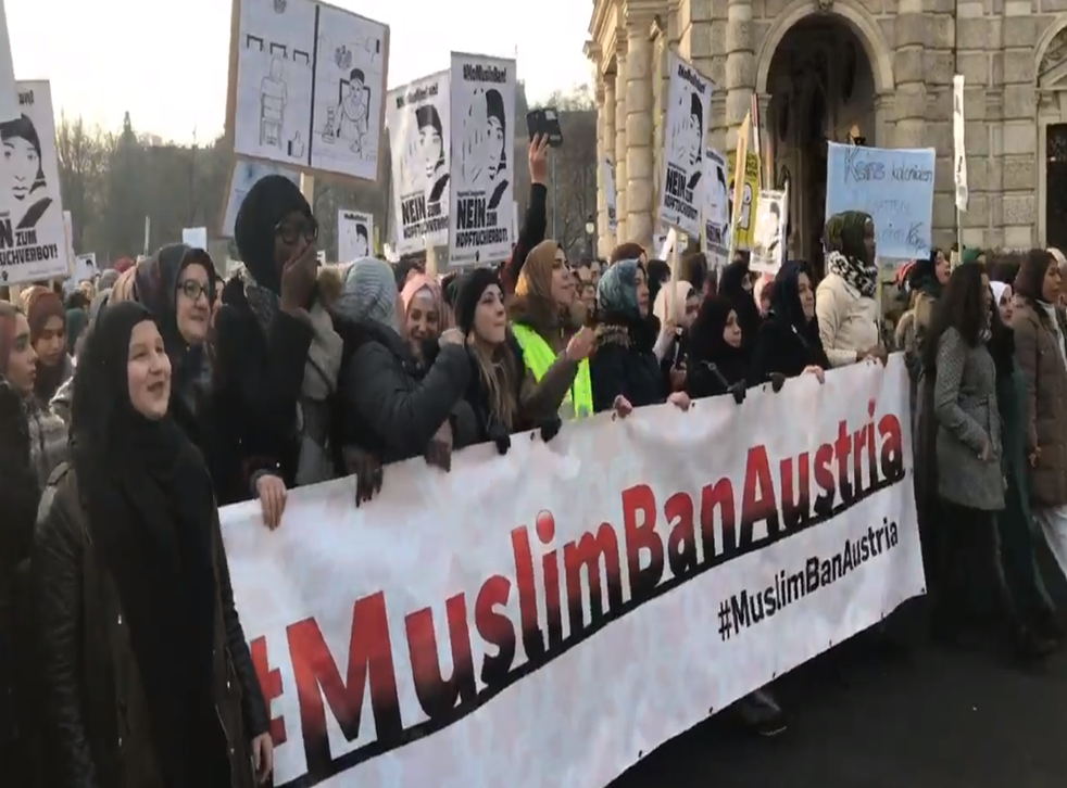 Women march against proposals to ban the full-face veil in Vienna
