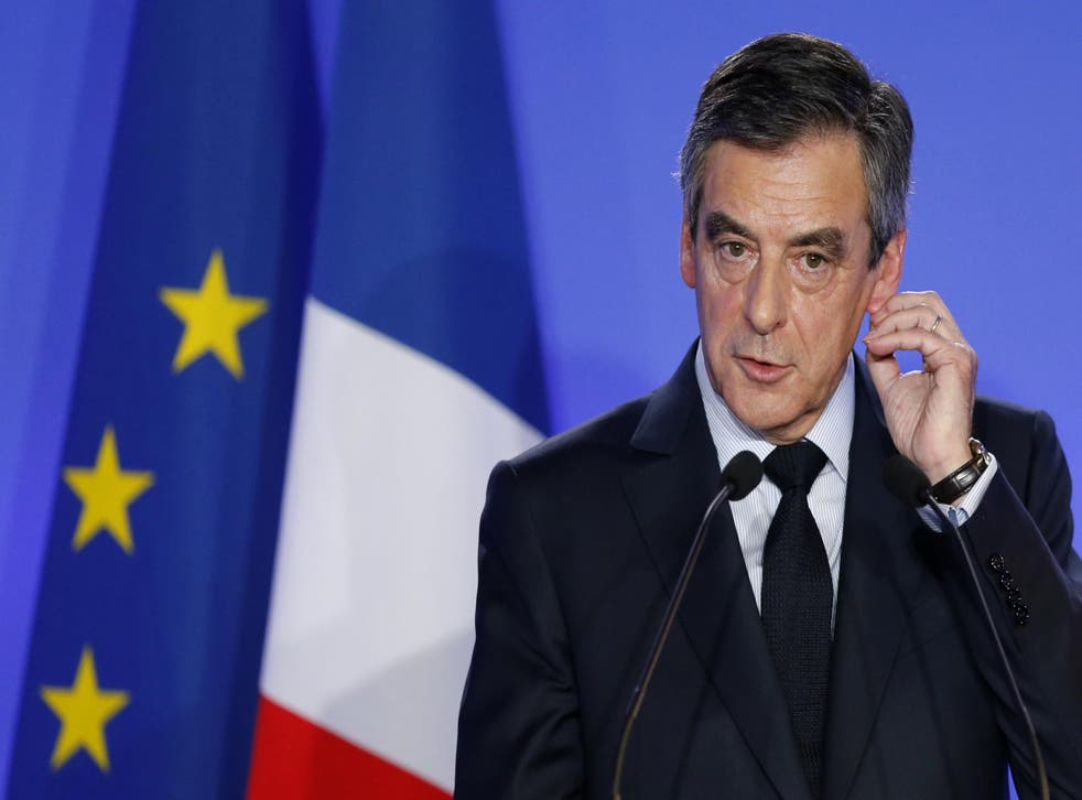 Francois Fillon addresses a news conference about a 'fake job' scandal at his campaign headquarters in Paris