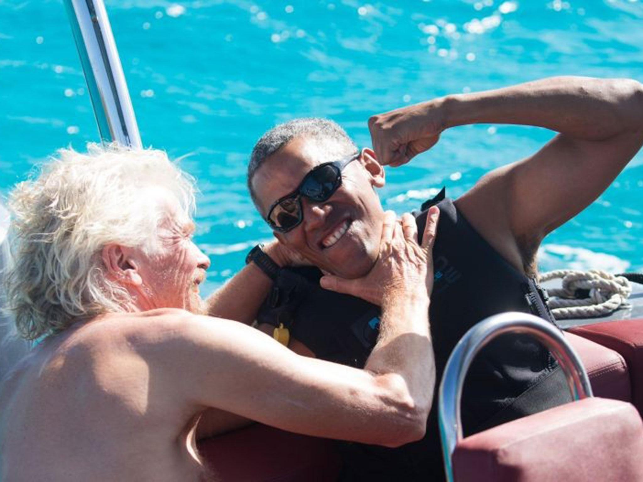 Image result for obama on yacht with richard branson