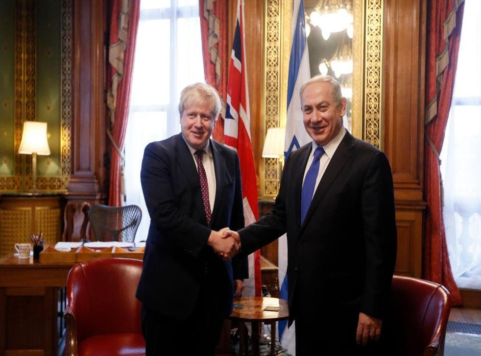 Boris Johnson (then foreign secretary) greets Benjamin Netanyahu at the Foreign Office in February 2017
