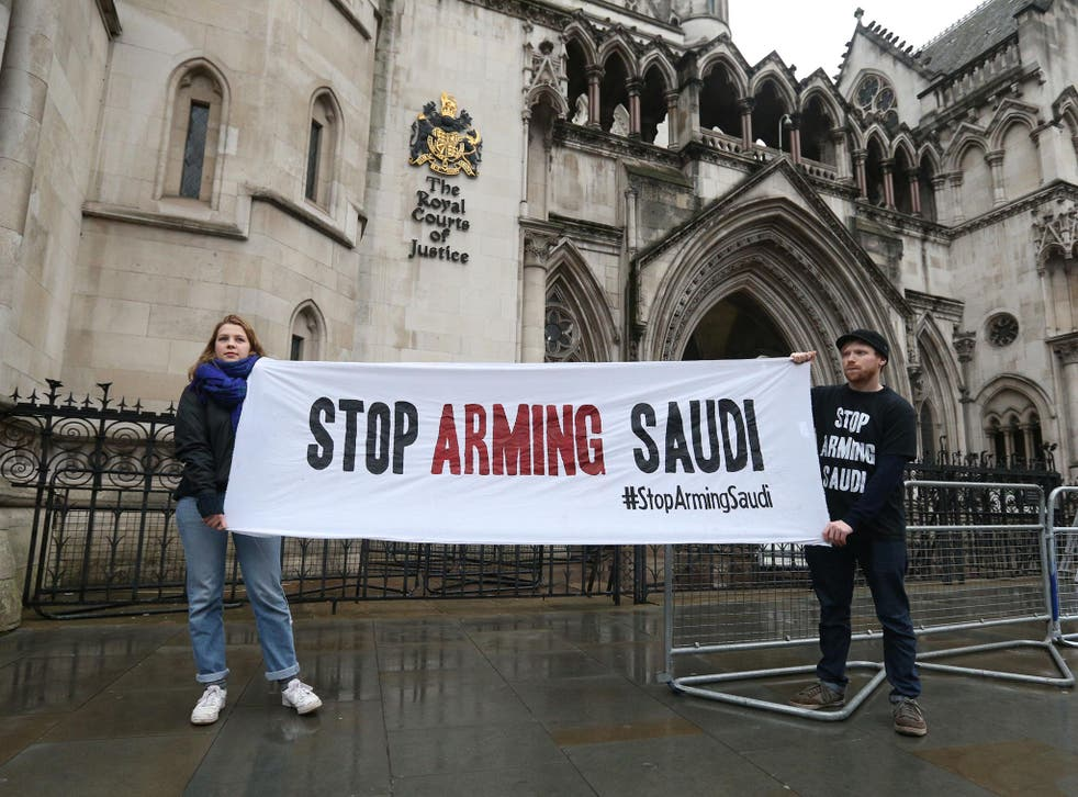Campaigners outside the High Court in London today