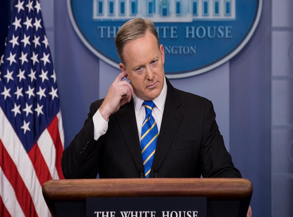 White House Press Secretary Sean Spicer takes questions during the daily press briefing in the James Brady Press Briefing Room at the White House, January 24, 2017 in Washington DC.