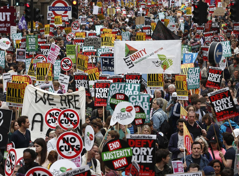 Protesters against austerity outside the Bank of England in 2015