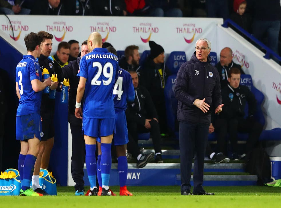 Ranieri issues his players with instructions ahead of extra-time at the King Power Stadium