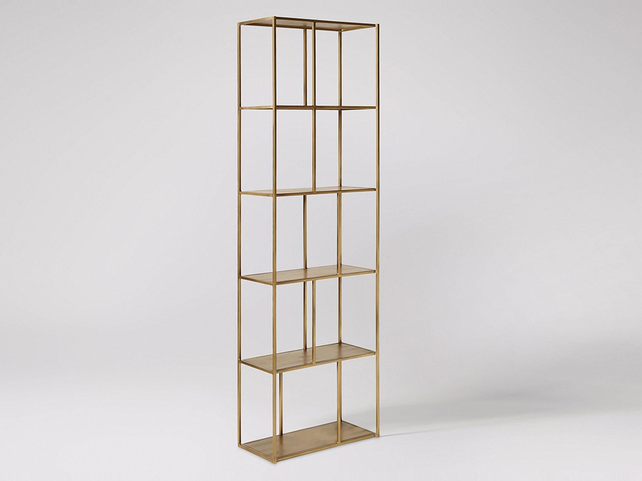The Aero Shelf Is Made To Frame Books In Style With A Pleasing Geometric Design And Luxurious Finish Iron Bookcase Finished Top Bottom