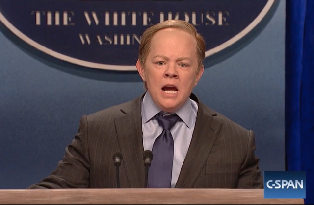 Melissa McCarthy mocking Donald Trump's Press Secretary Sean Spicer on Saturday Night Live