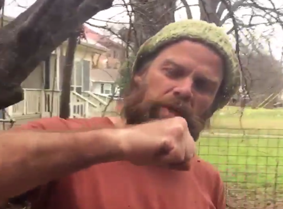 Thor Harris demonstrates 'how to punch a Nazi' in the video that caused his temporary suspension on Twitter