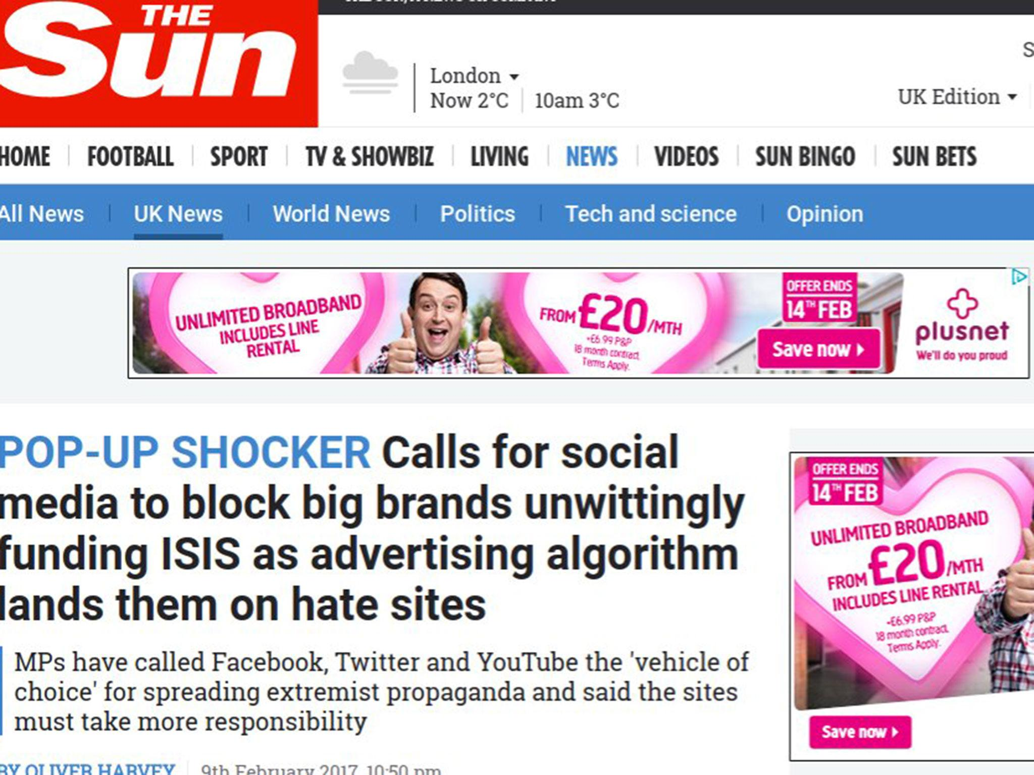 Plusnet Says It Has Stopped Adverts On The Sun Website After - 35 controversial shocking adverts make stop think