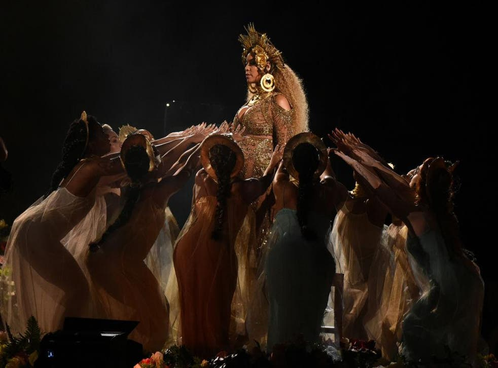 Beyonce performs at the 2017 Grammy Awards
