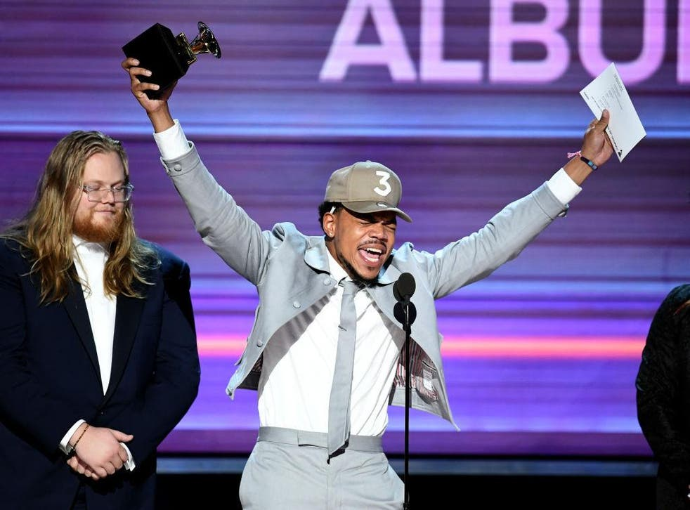 Chance the Rapper celebrates his award for Best Rap Album at the Grammys 2017