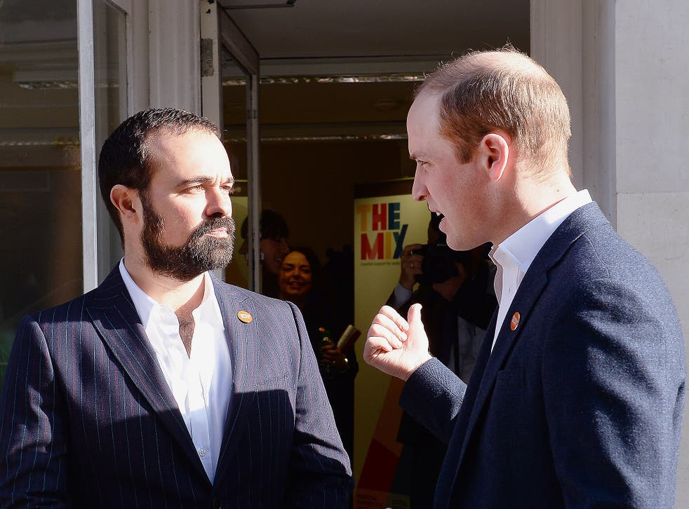 Evgeny Lebedev with Prince William at the launch of the Centrepoint Helpline. The owner of 'The Independent' was able to tell the Prince our Homeless Helpline Appeal had raised £3.25m
