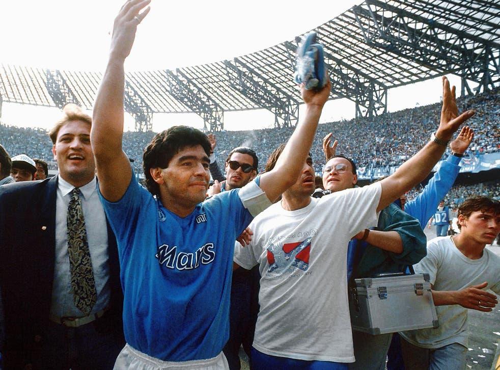 Diego Maradona salutes the Napoli fans - 1980s