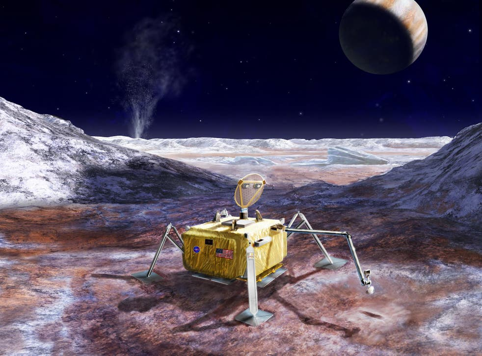 An artist's rendering illustrates a conceptual design for a potential future mission to land a robotic probe on the surface of Jupiter's moon Europa