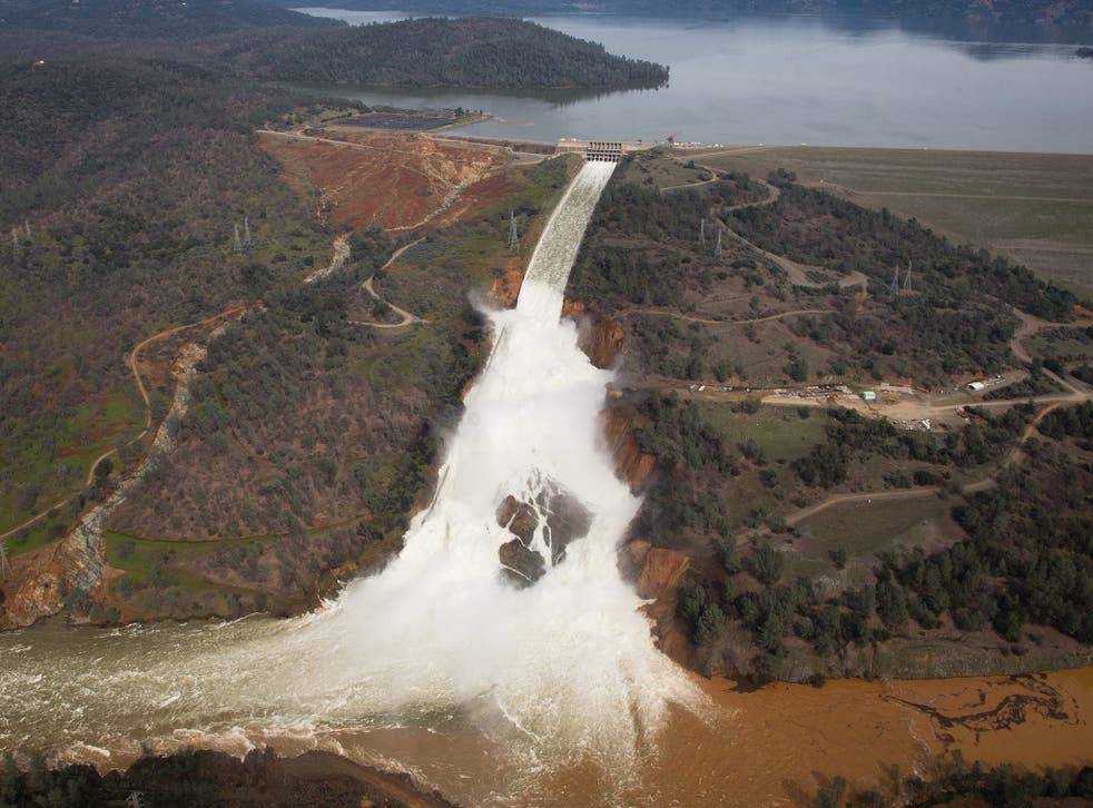 Over 200,000 people have been evacuated after a hole emerged in an emergency spillway of the Oroville Dam, threatening to flood the surrounding area