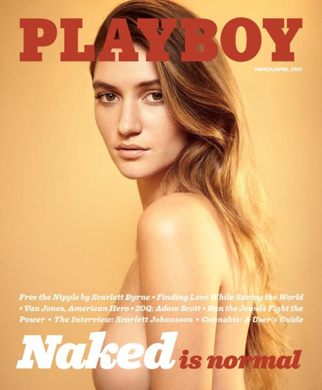 'Playboy's' March front cover with 'Harry Potter' actress Scarlett Byrne