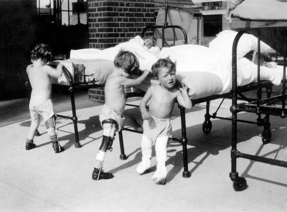 Children with polio doing physiotherapy exercises at Wingfield Nuffield Orthopaedic Hospital in Oxfordshire