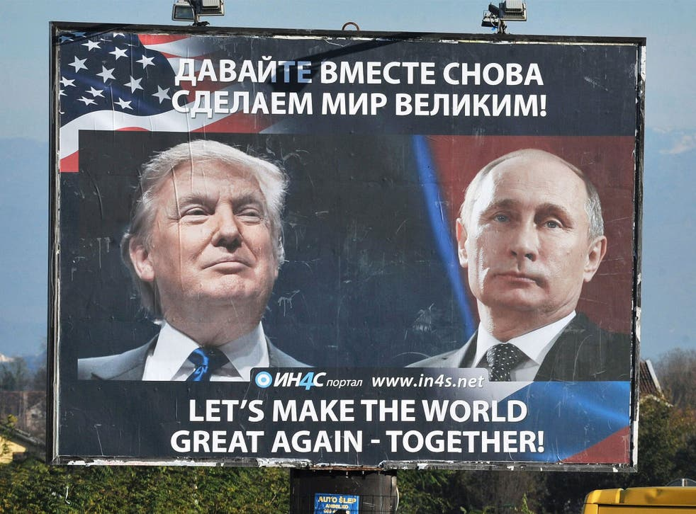 A poster showing US President Donald Trump and Russian President Vladimir Putin