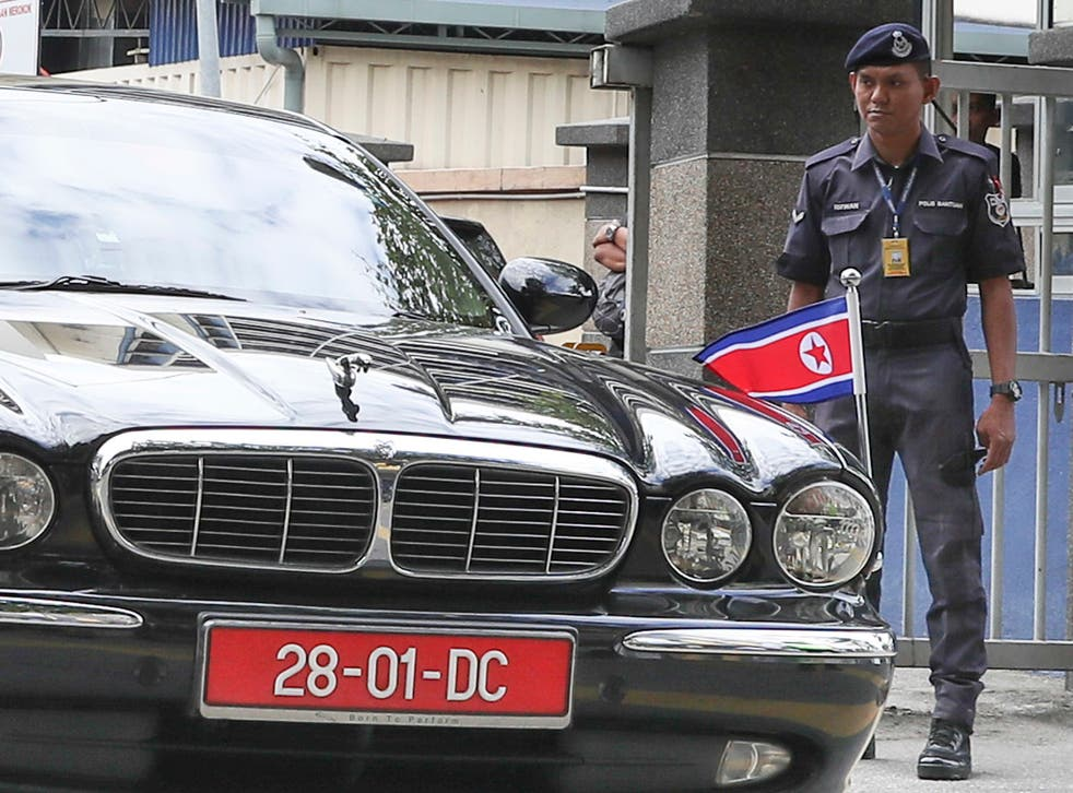 The car of ambassador of North Korea to Malaysia leaves the forensic department at the hospital in Kuala Lumpur, Malaysia