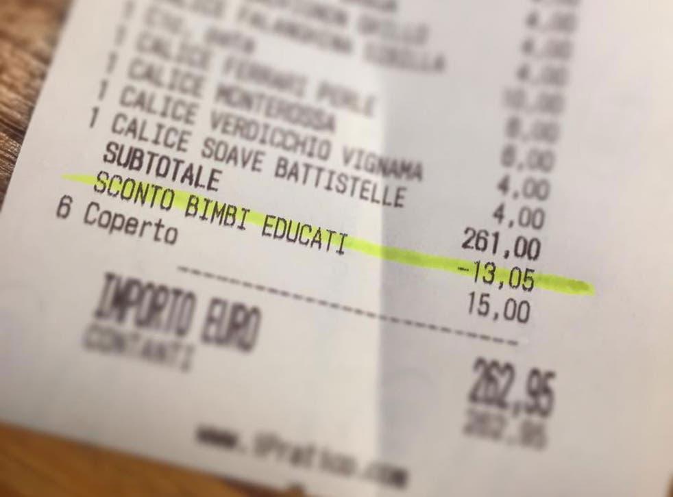 Antonio Ferrari said he wanted to reward a family who visited his wine bar in Padua