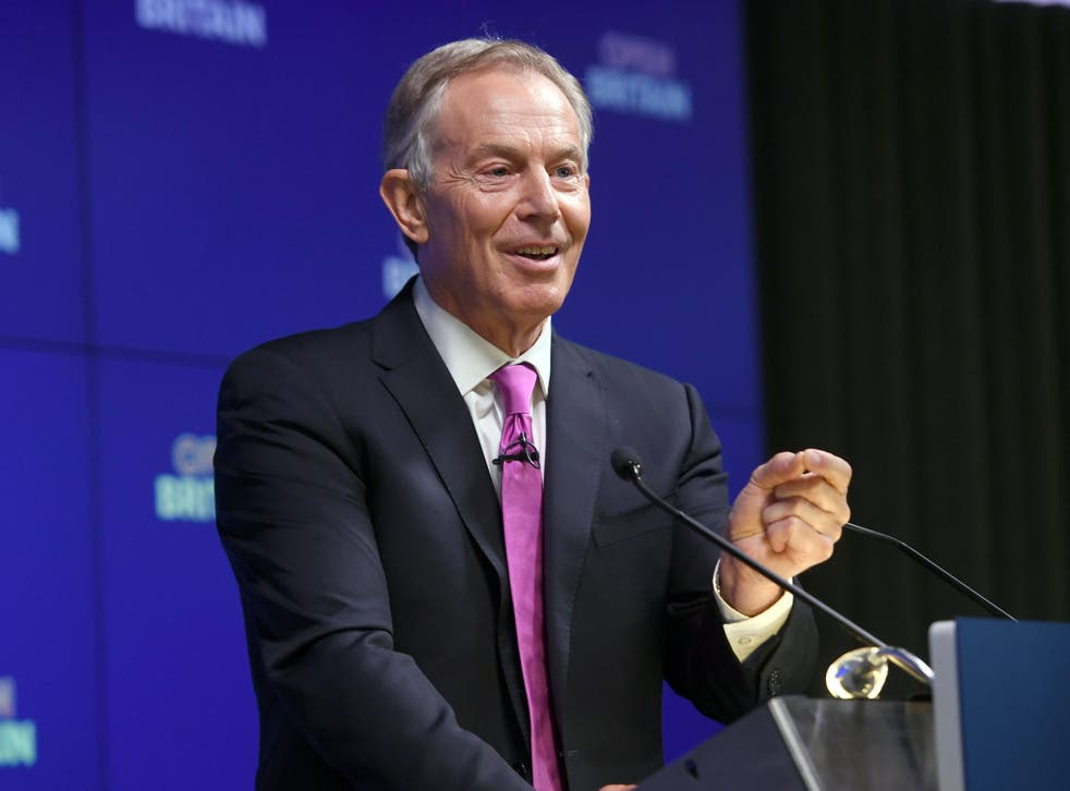 Former Prime Minister Tony Blair during his speech on Brexit