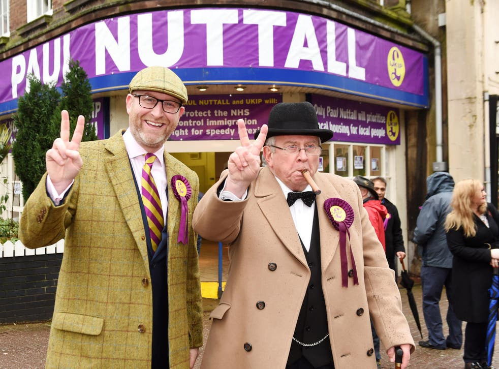 We shall fight them in the Potteries: the Ukip leader outside the party HQ in Stoke, where he is standing for MP, with a supporter channelling the spirit of Churchill