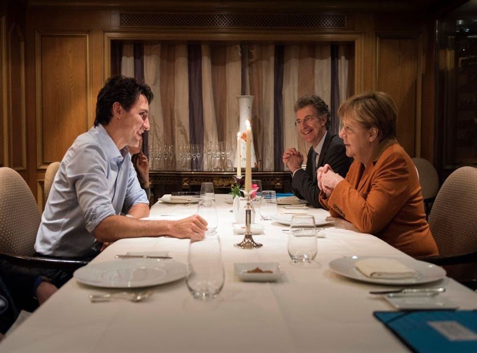 Justin Trudeau during a meeting with Angela Merkel